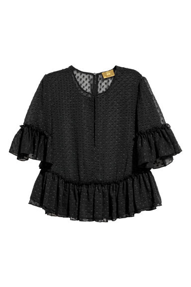 Flounced blouse - Black -  | H&M