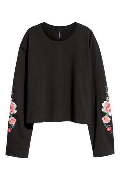 Jersey top with embroidery - Black/Flowers -  | H&M