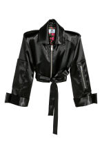 Short satin jacket - Black - Ladies | H&M 2