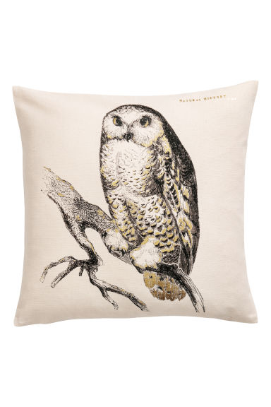 Cushion cover with a motif - Beige/Owl -  | H&M IE
