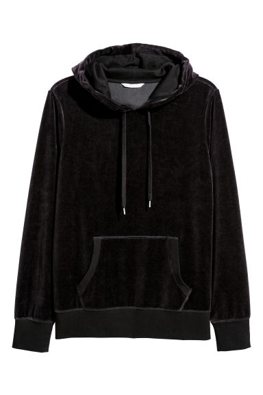 H&M+ Velour hooded top - Black -  | H&M IE