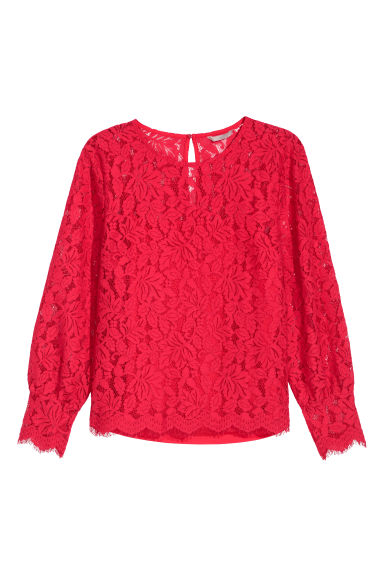 H&M+ Lace blouse - Bright red - Ladies | H&M CN
