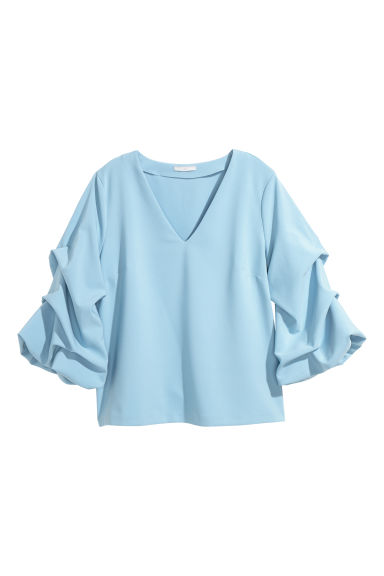 Top with draped sleeves - Light blue - Ladies | H&M CN