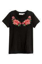 Top avec applications - Noir - FEMME | H&M FR 1