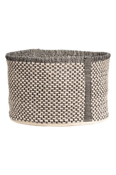 Cotton storage basket - Natural white/Anthracite grey - Home All | H&M