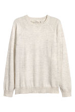 Fine-knit cotton jumper - White marl - Men | H&M IE 2