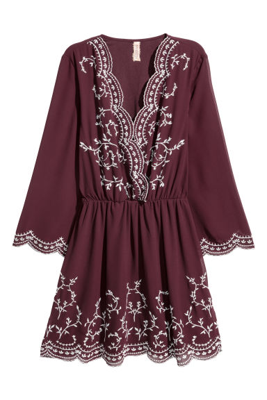 Embroidered dress - Burgundy - Ladies | H&M CN