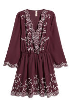 Embroidered dress - Burgundy - Ladies | H&M 2