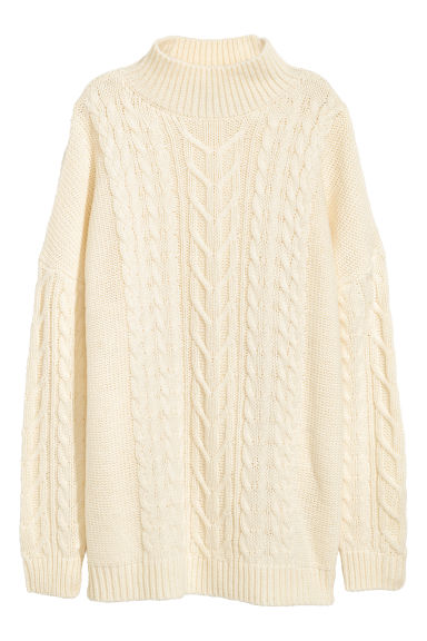 Cable-knit jumper - Natural white - Ladies | H&M