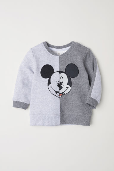 Sweat avec impression - Gris chiné/Mickey - ENFANT | H&M FR