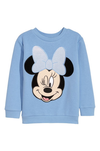 Camisola sweat com estampado - Azul claro/Minnie -  | H&M PT