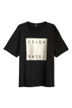T-shirt ample - Noir/Celebrate - HOMME | H&M FR 2