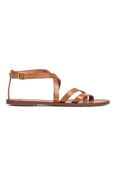 Strappy leather sandals - Camel - Ladies | H&M GB