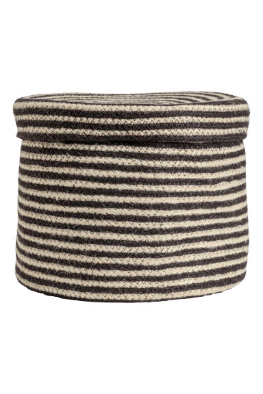 Storage basket with a lid - Black/Striped -  | H&M GB