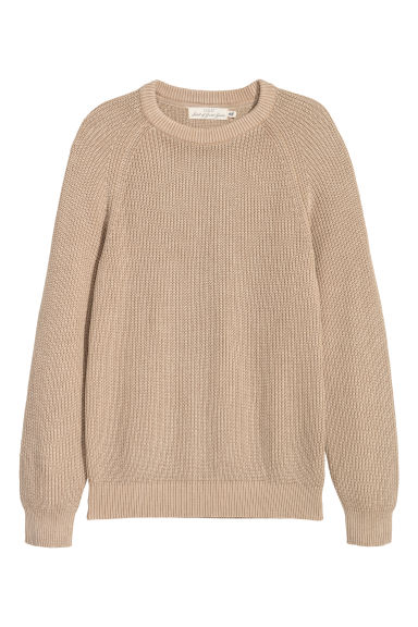 Washed cotton jumper - Beige - Men | H&M GB