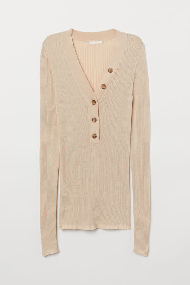 Geribde top - Beige - DAMES | H&M BE