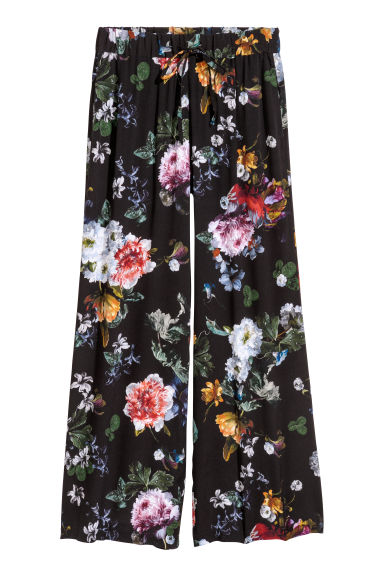 Wide trousers - Black/Floral - Ladies | H&M