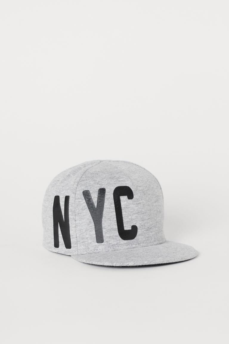 Cap with an appliqué - Light grey marl/NYC - Kids | H&M GB