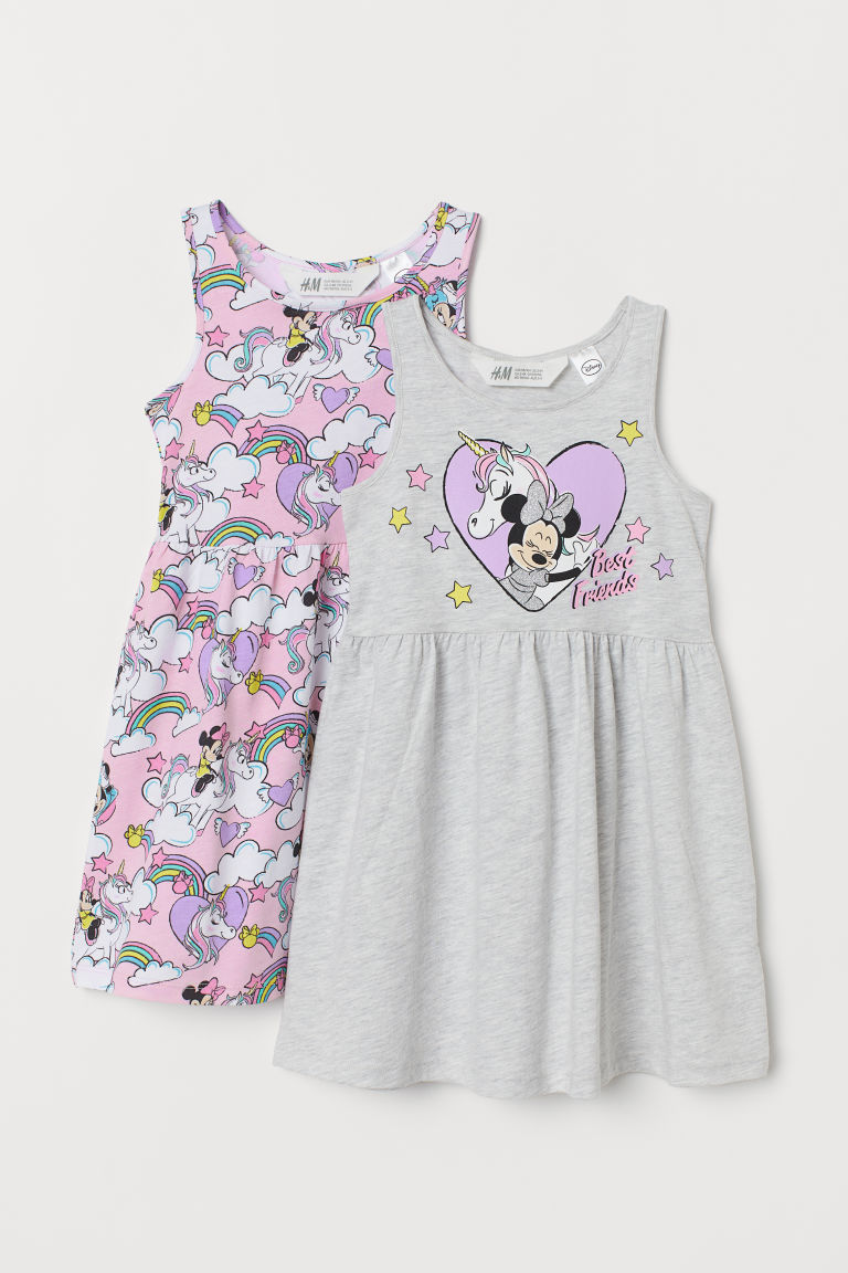 2-pack jersey dresses - Light grey marl/Minnie Mouse - Kids | H&M GB