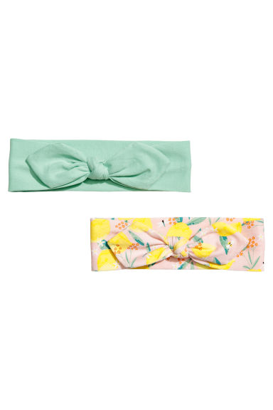 2-pack jersey hairbands - Mint green/Floral - Kids | H&M CN