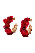 Hoop earrings - Gold-coloured/Red - Ladies | H&M 1