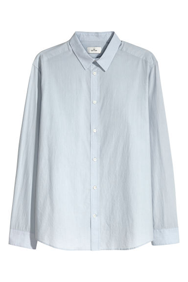 Cotton poplin shirt - Light blue - Men | H&M