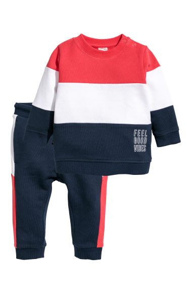 Top and trousers - Dark blue/Block-coloured - Kids | H&M CN