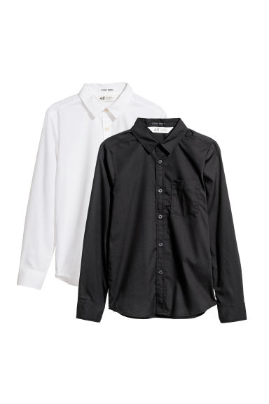 2-pack Easy-iron shirts - White/Black - Kids | H&M CN