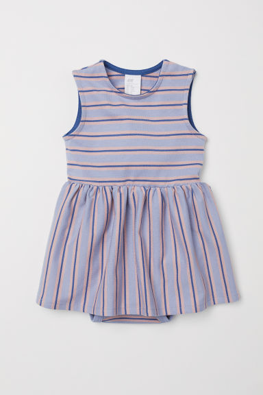 Jersey dress with bodysuit - Lavender/Striped - Kids | H&M CN