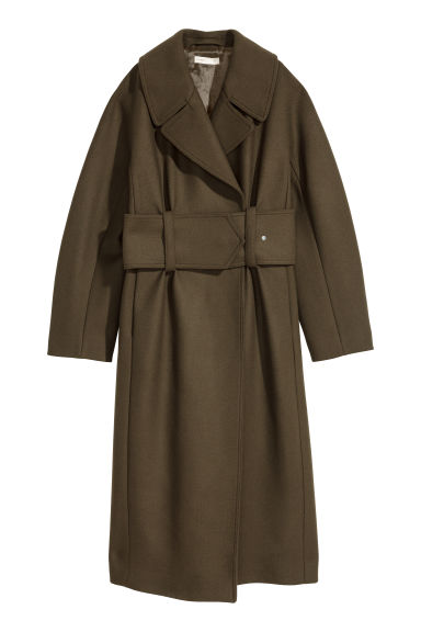 Wool-blend coat - Khaki green - Ladies | H&M CN
