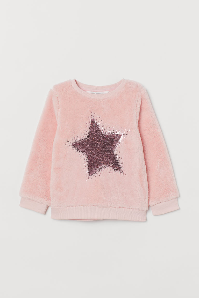 Pile top with sequins - Light pink/Star -  | H&M GB