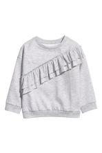 Sweat-shirt à volant - Gris clair chiné - ENFANT | H&M BE 2