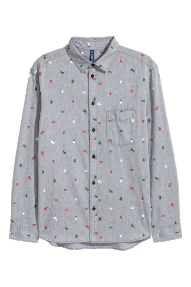 Christmas-print shirt - Dark grey/Patterned -  | H&M
