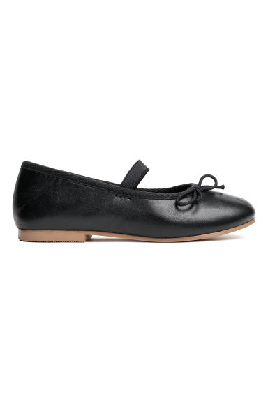Leather ballet pumps - Black - Kids | H&M