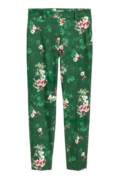 Tailored trousers - Green/Floral - Ladies | H&M