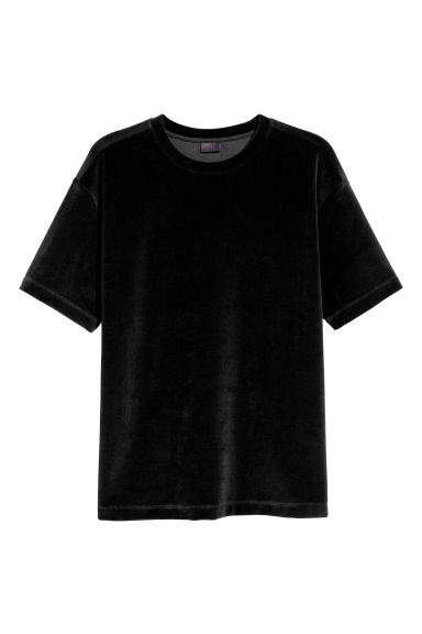Velour T-shirt - Black -  | H&M CN