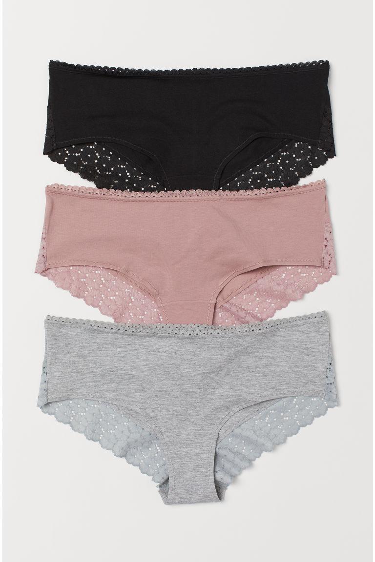 3-pack hipster briefs - Grey marl/Vintage pink - Ladies   H&M GB