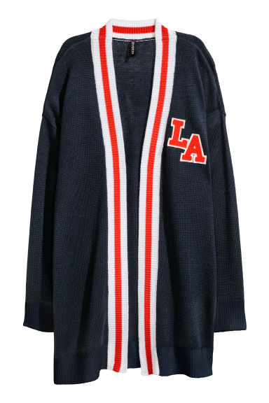 Jacquard-knit cardigan - Dark blue/LA - Ladies | H&M