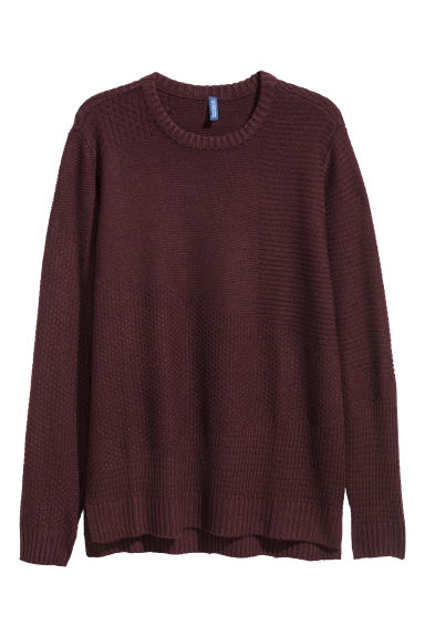 Textured-knit jumper - Burgundy -  | H&M IE