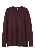 Textured-knit jumper - Burgundy - Men | H&M IE 2