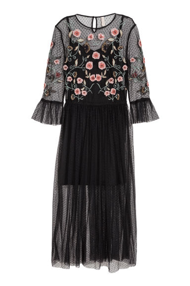 Mesh dress with embroidery - Black/Flowers - Ladies | H&M CN