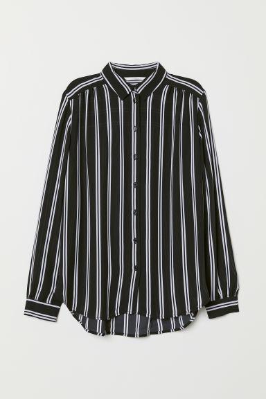 Long-sleeved blouse - Black/White striped - Ladies | H&M GB