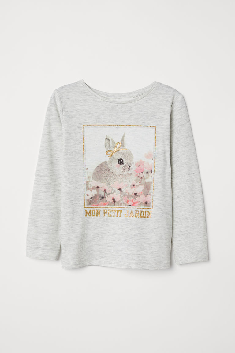 Printed jersey top - Light grey marl/Rabbit - | H&M GB