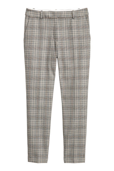 Cigarette trousers - Grey beige/Checked -  | H&M