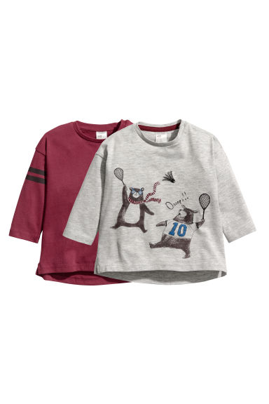 2-pack long-sleeved tops - Grey marl/Bears - Kids | H&M CN