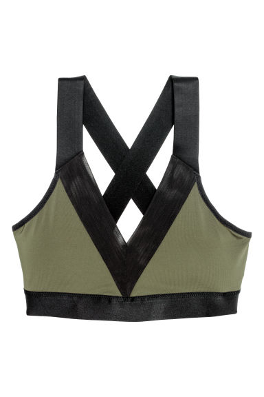 Sports bra Medium support - Khaki green - Ladies | H&M