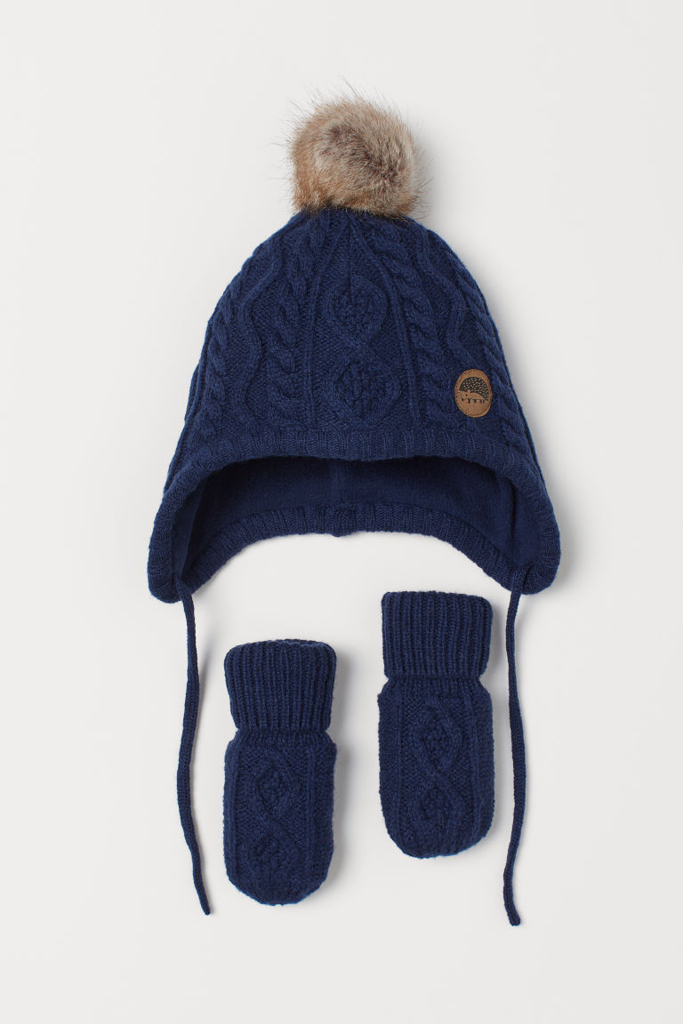 Hat and mittens - Dark blue - Kids | H&M GB