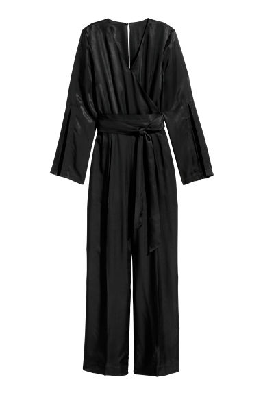 Wrapover jumpsuit - Black - Ladies | H&M