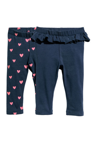 2-pack leggings - Dark blue/Hearts - Kids | H&M