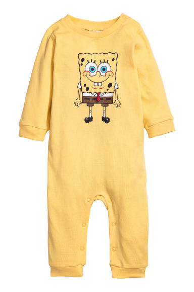 Printed all-in-one pyjamas - Yellow/SpongeBob - Kids | H&M CN